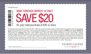 Coupon for: Yankee Candle, $20 off