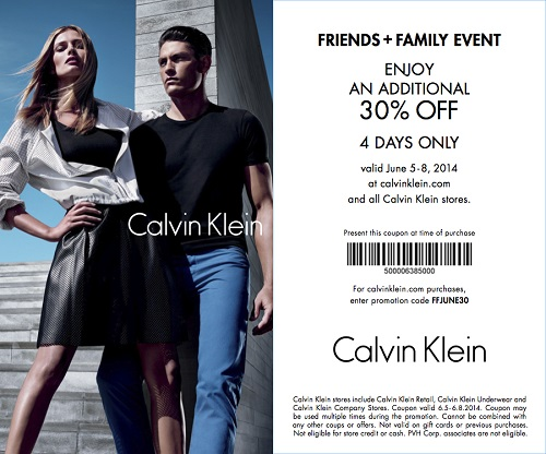 Coupon for: Calvin Klein, Friends & Family event