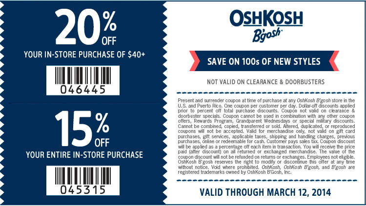 Coupon for: OshKosh B'gosh stores & Spring Clearance