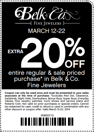 Coupon for: Belk, Fine Jewelers 20% off