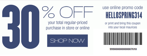 Coupon for: maurices, 30% off your purchase