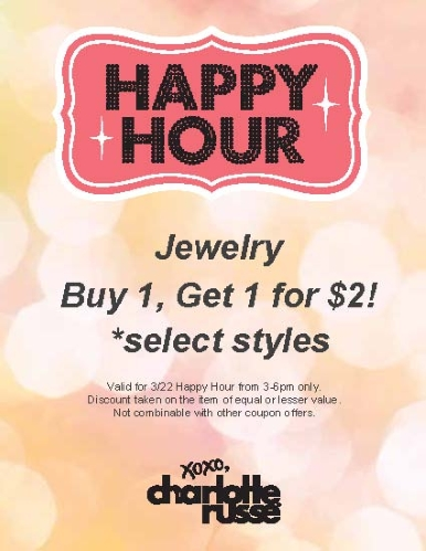 Coupon for: charlotte russe, happy hour: BOGO