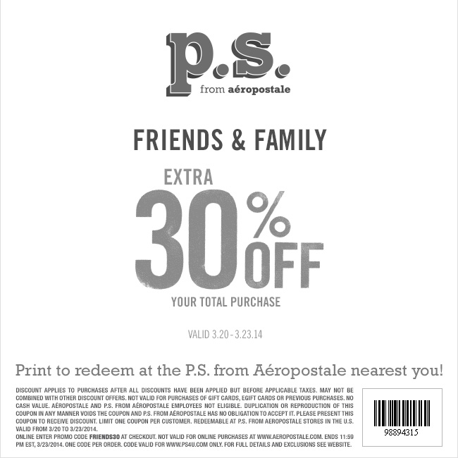 Coupon for: p.s. from aéropostale, extra 30% off your purchase