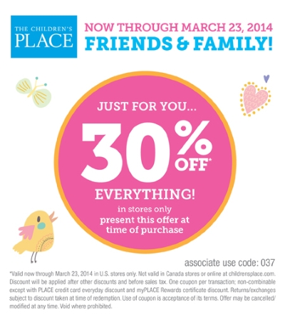 Coupon for: The Children's Place, Friends & Family