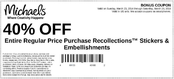 Coupon for: Michaels, get a coupon: 40% off
