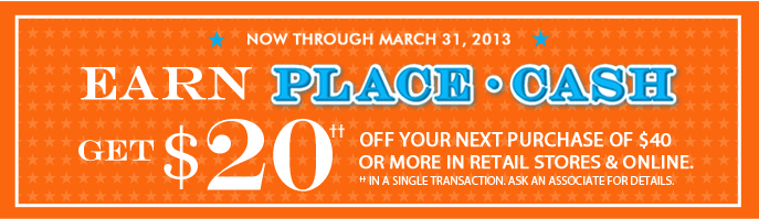 Coupon for: The Children's Place, Earn $20 Place cash