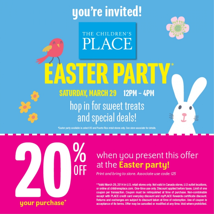 Coupon for: The Children's Place, Easter Party