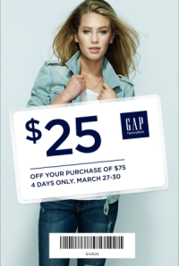 Coupon for: GAP, $25 off your purchase
