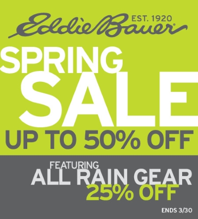 Coupon for: Eddie Bauer, Spring Sale, up to 50% off