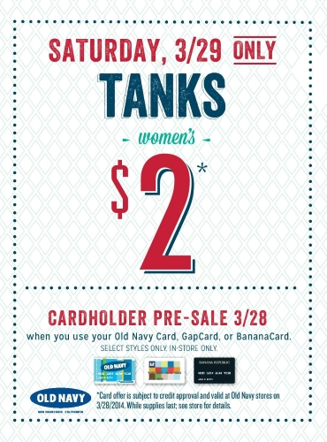 Coupon for: Old Navy, Women's Tanks $2