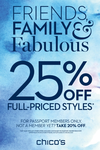 Coupon for: Chico's, 25% off original prices