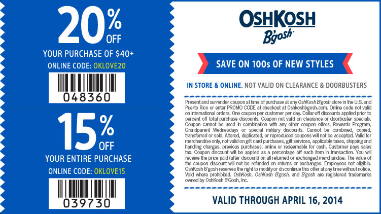 Coupon for: OshKosh B'gosh, new arrivals now for $6 & up + up to 20% off purchase