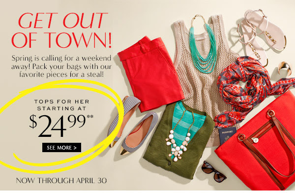 Coupon for: Banana Republic, Weekend Inspiration from $24.99