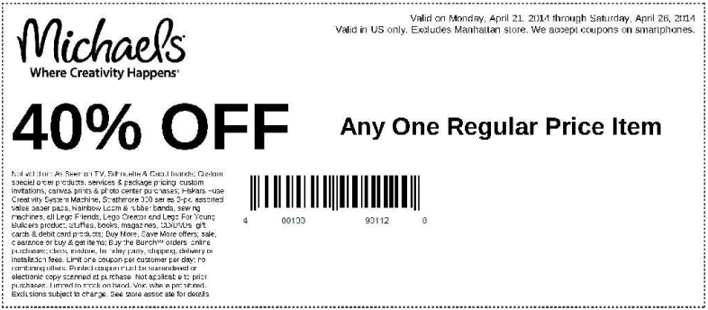 Coupon for: Michaels, one item with 40% discount