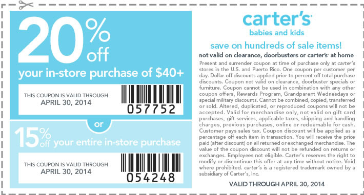 Coupon for: Carter's, up to 20% entire purchase