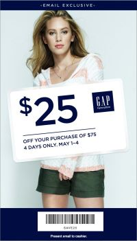 Coupon for: GAP, Exclusive coupon for you
