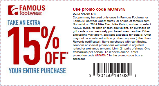 Coupon for: Famous Footwear, an additional 15% off