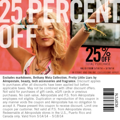 Coupon for: Aeropostale, 25% off your total purchase