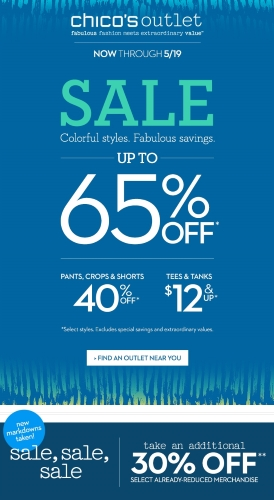Coupon for: Chico's Outlet, up to 65% off, an extra 30% off selected styles