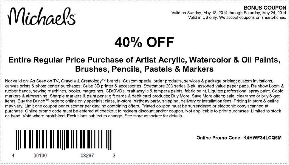 Coupon for: Michaels, Art supplies with 40% discount