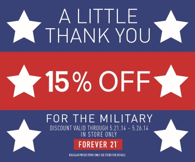 Coupon for: Forever 21, Military discount