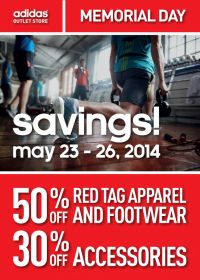 Coupon for: adidas outlet stores, up to 50% off, Memorial Day Savings