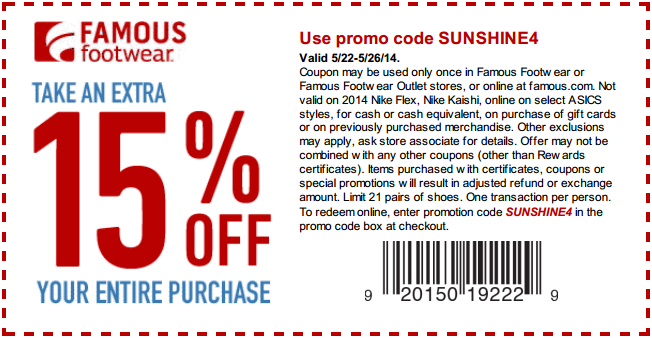 Coupon for: Famous Footwear, an extra15% off