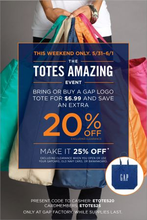 Coupon for: GAP Factory, The Totes Amazing Event