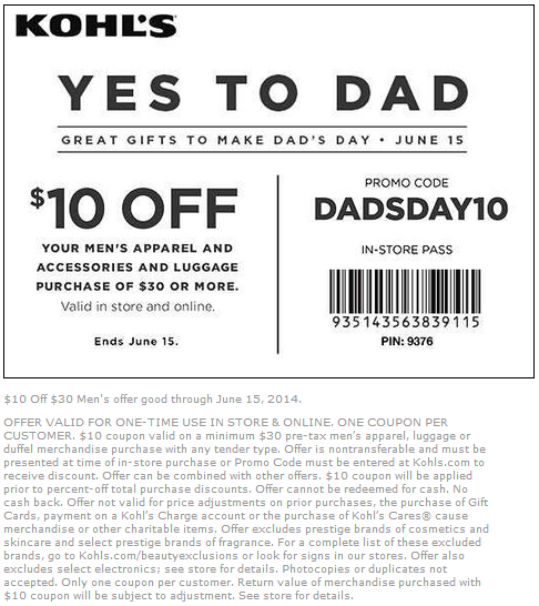 Coupon for: Kohl's, Yes to dad