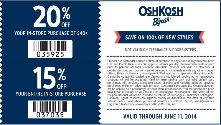 Coupon for: OshKosh B'gosh, extra 20% off Clearance + ...
