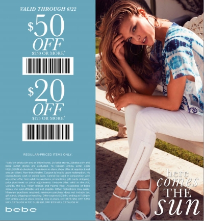 Coupon for: BEBE, spend more money and save more