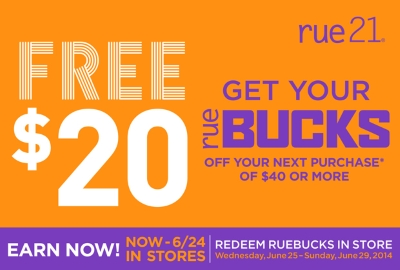 Coupon for: rue 21, get your BUCKS