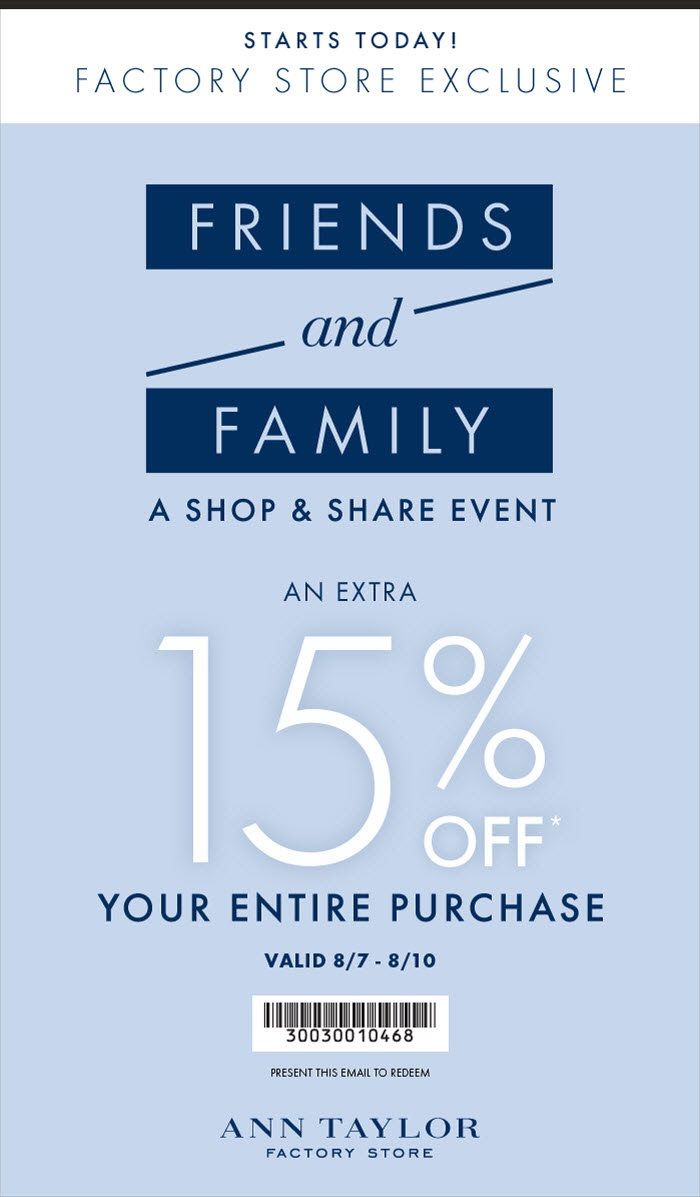 Coupon for: Ann Taylor Factory, exclusive coupon