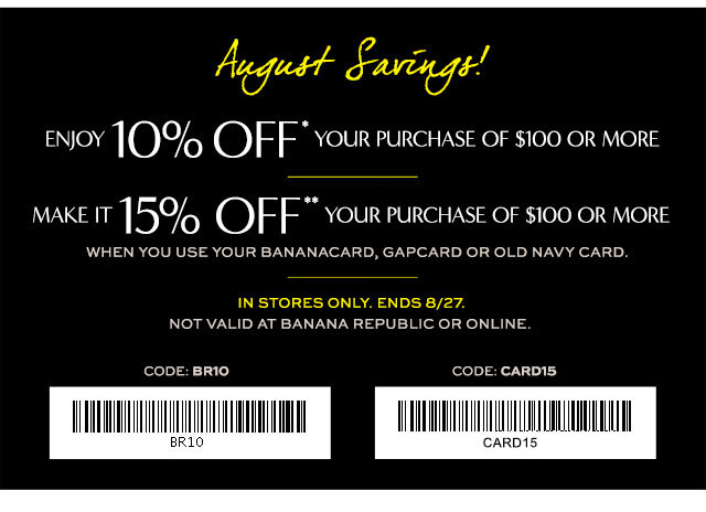 Coupon for: Banana Republic Factory Stores, August Saving