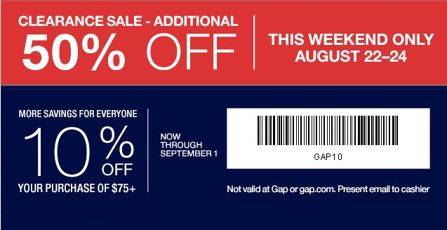 Coupon for: Gap Factory Stores, take an extra ...