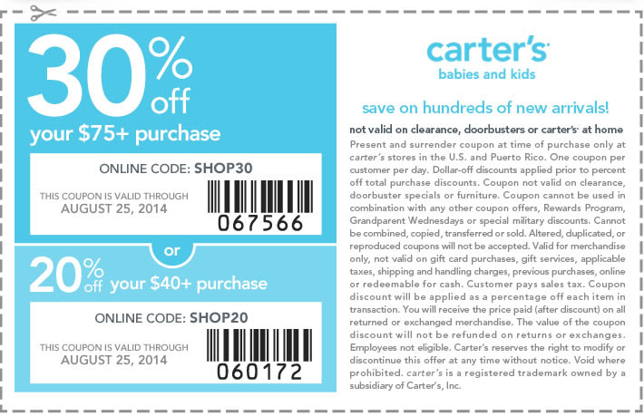 Coupon for: Carter's, take up to 30% off ...