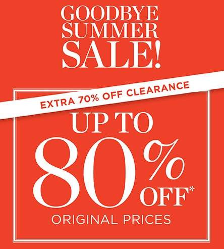 Coupon for: Talbots, Goodbye Summer SALE