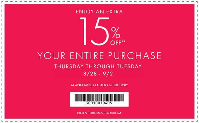 Coupon for: Ann Taylor Factory, Labor Day SALE