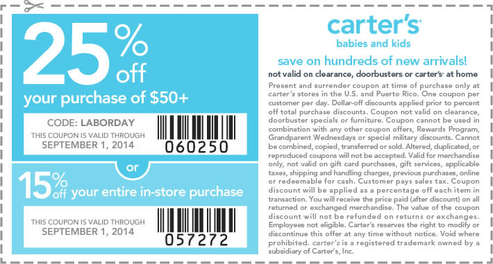 Coupon for: carter's, Labor Day SALE