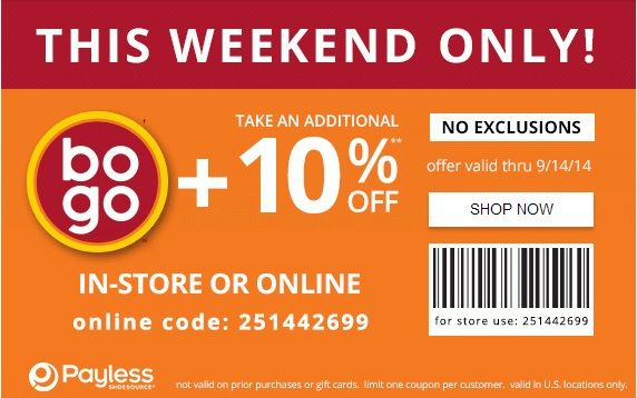 Coupon for: Payless ShoeSource, extra 10% off