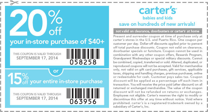 Coupon for: Carter's, take 20% off your ...