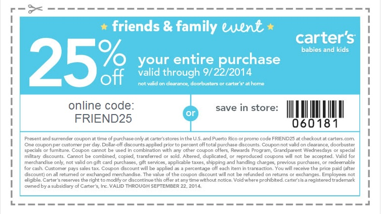 Coupon for: carter's, Friends & Family Event