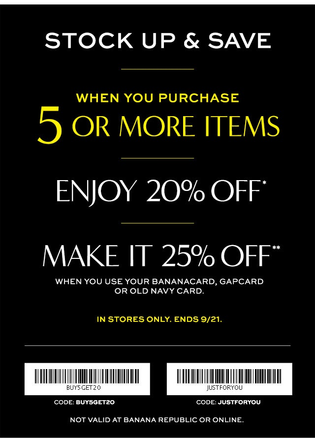 Coupon for: Banana Republic Factory Store, Stock up & Save