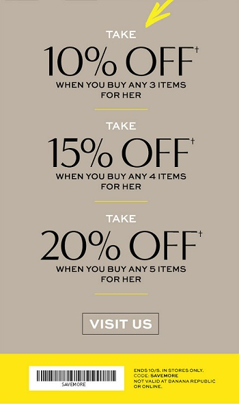 Coupon for: Banana Republic Factory Stores, Buy more, save more ...