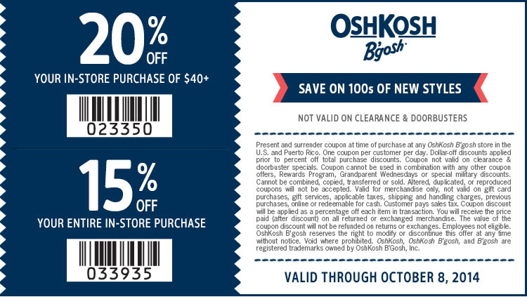 Coupon for: OshKosh B'gosh, up to 20% off your ...