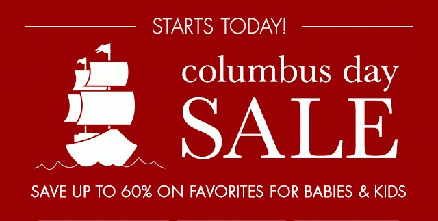 Coupon for: Pottery Barn Kids, Columbus Day SALE event