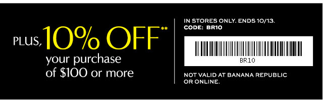 Coupon for: Banana Republic Factory Stores, entire store up to ...