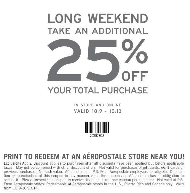 Coupon for: Aéropostale, long weekend of ...