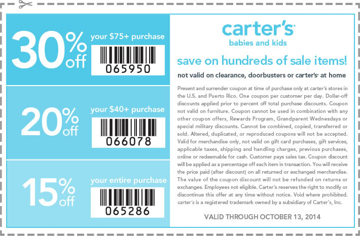 Coupon for: carter's, Columbus Day SALE ...