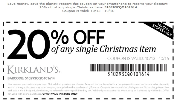 Coupon for: Kirkland's, special Christmas sneak preview ...